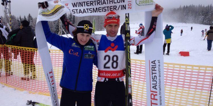 Slavinec und Wieltschnig Wintertriathlon Staatsmeister 1