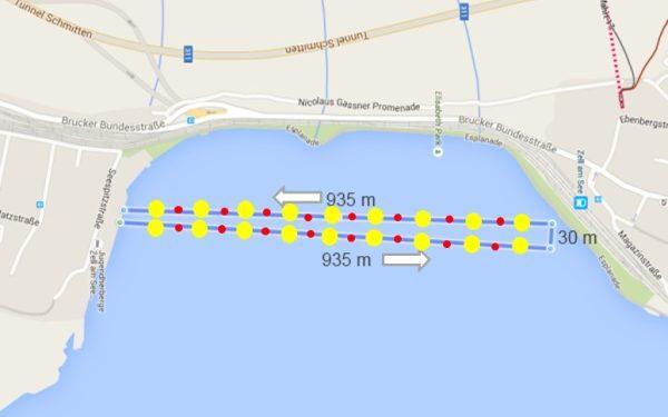 Die Schwimmstrecke des IRONMAN 70.3 Zell am See - Kaprun 1