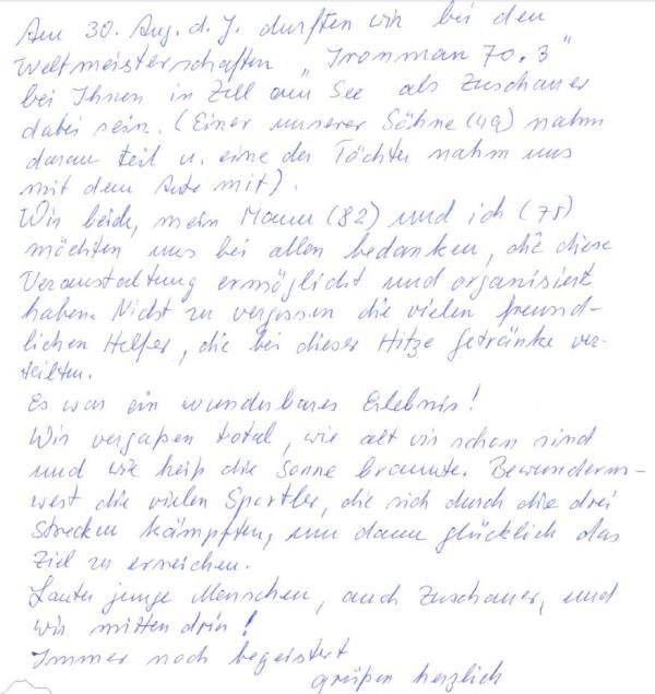Positives Feedback zu den IRONMAN 70.3 Weltmeisterschaften in Zell am See  -Kaprun 2