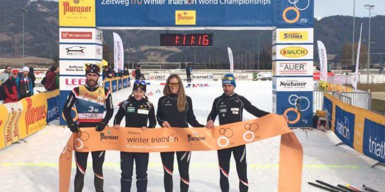 Wintertriathlon Silbermedaille für Österreichs Elite Team 1