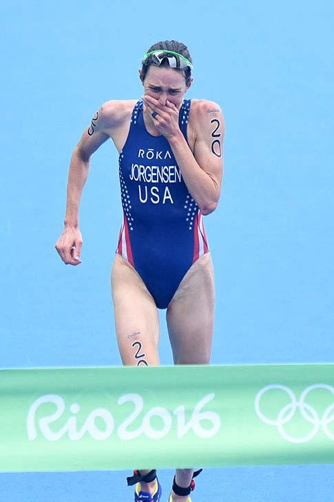 Emotionen! Gwen Jorgensen läuft ihrem Olympiasieg entgegen.