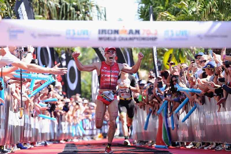 SUNSHINE COAST, AUSTRALIA - SEPTEMBER 04: Tim Reed of Australia celebrates winning the Ironman 70.3 World Championship on September 4, 2016 in Sunshine Coast, Australia. (Photo by Matt Roberts/Getty Images)