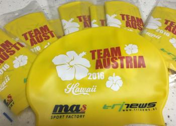 Badekappen für alle Österreicher beim IRONMAN Hawaii