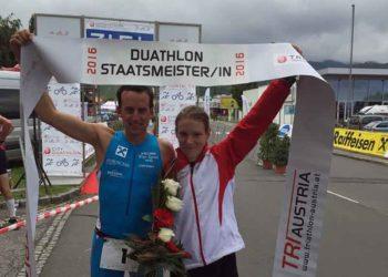 Die beiden Duathlon Staatsmeister Sandrina Illes und Thomas Rossmann
