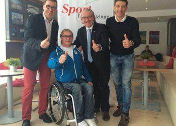 Herwig Grabner (ÖTRV Generalsekretär), Walter Pfaller (Direktor Salzburger Landessportorganisation, Walter Zettinig (ÖTRV Präsident) und Mag. Josef Gruber (STrV Präsident) freuen sich auf den neuen Triathlon-Bundesstützpunkt