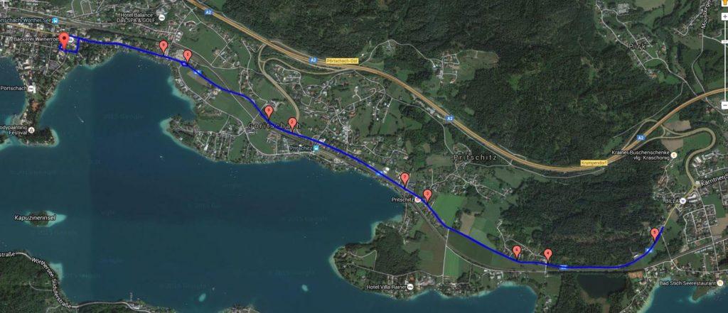 Radstrecke Wörthersee Triathlon