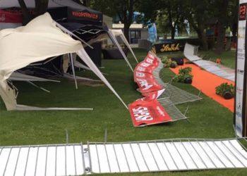 Der Wind verlangte den Veranstaltern in Neufeld alles ab.