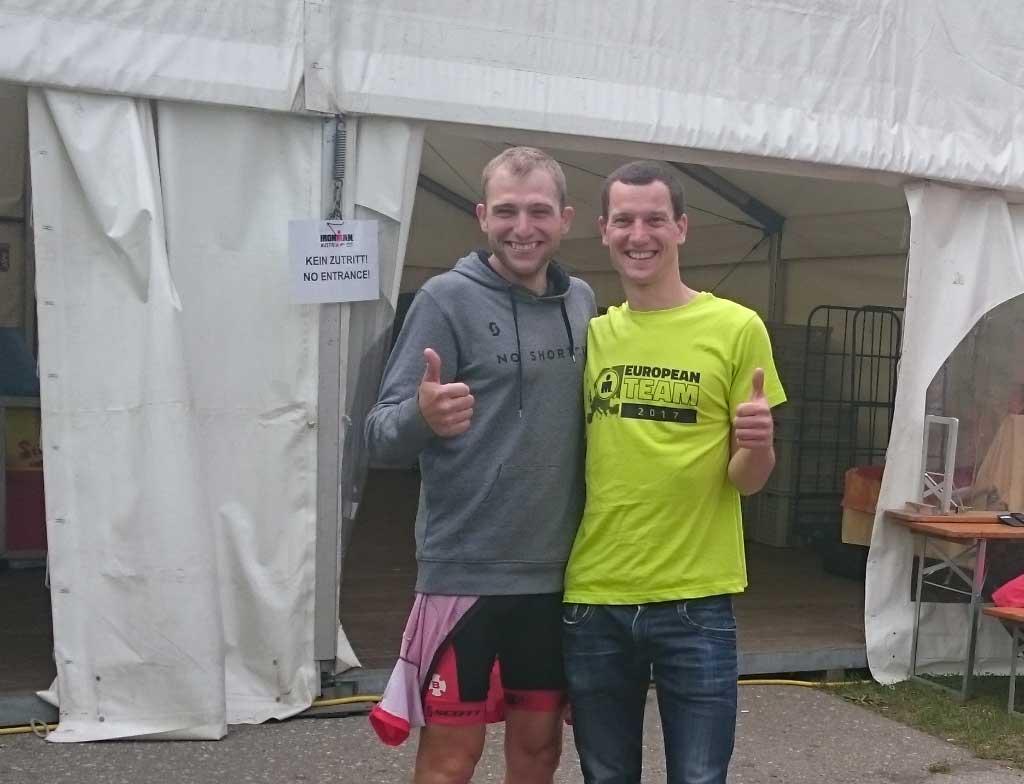 Alexander Strutz gemeinsam mit dem mehrfachen IRONMAN Austria-Kärnten Finisher Anton Blokhin aus der Ukrainie