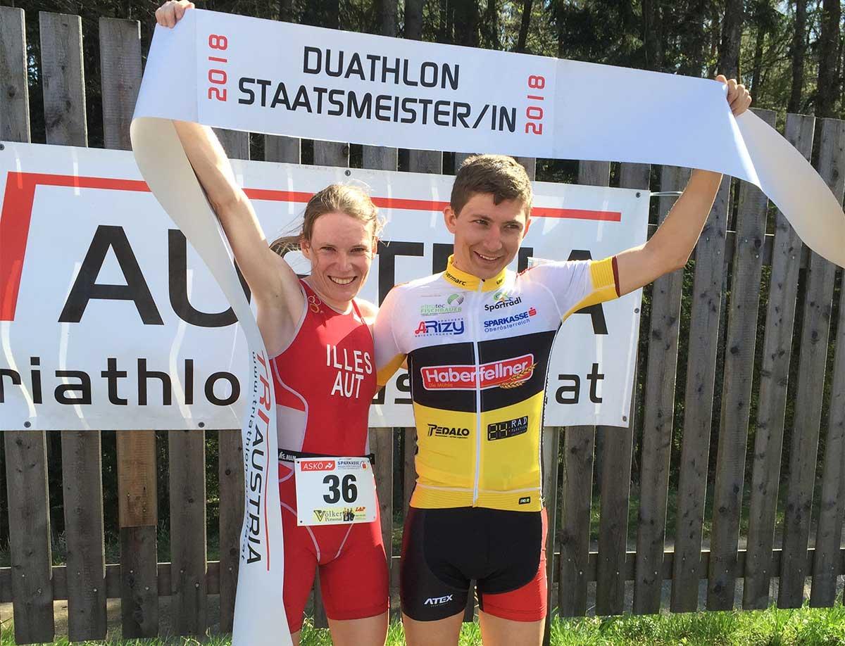 Sandrina Illes und Andreas Silberbauer gewinnen die Duathlon Staatsmeistertitel 2018 in Rohrbach