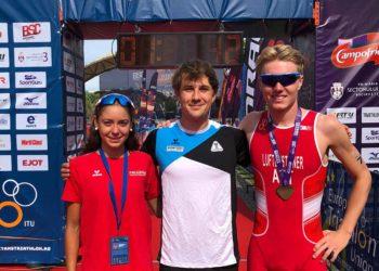 Lena Baumgartner und Peter Luftensteiner mit OÖ Landestrainer Andreas Prem