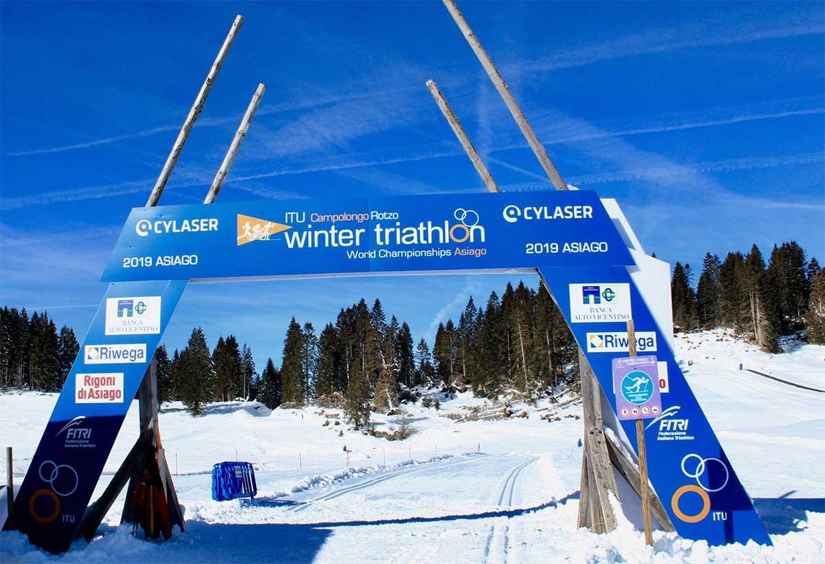 Finishline der Wintertriathlon WM 2019