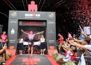 KLAGENFURT, AUSTRIA - JULY 07:  Daniela Ryf of Switzerland celebrates winning the women's race at Ironman Austria on July 7, 2019 in Klagenfurt, Austria. (Photo by Nigel Roddis/Getty Images for IRONMAN)