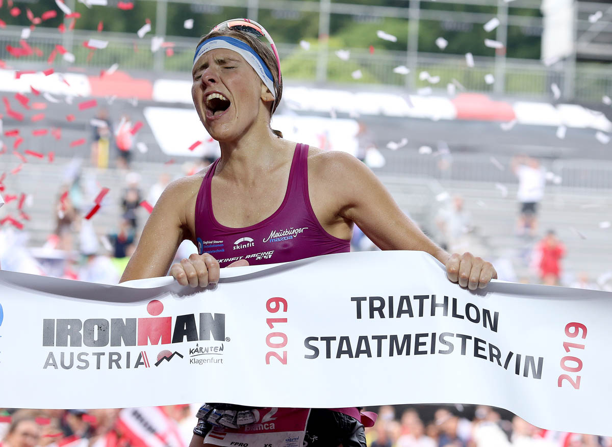 KLAGENFURT, AUSTRIA - JULY 07:  Bianca Steurer of Austria reactsafter finishing second in the women's race at on July 7, 2019 in Klagenfurt, Austria. (Photo by Nigel Roddis/Getty Images for IRONMAN)