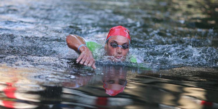 Den neuen Schwimmausstieg im Visier: Lukasz Wojt  | Foto: Getty Images for IRONMAN
