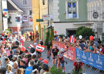 KLAGENFURT, AUSTRIA - JULY 07: Athletes compete in the bike leg during the Ironman Austria on July 07, 2019 in Klagenfurt, Austria. (Photo by Sebastian Widmann/Getty Images for IRONMAN)