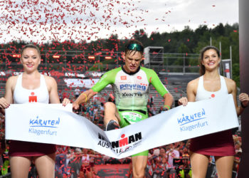 KLAGENFURT, AUSTRIA - JULY 07: Daniel Baekkegard of Denmark wins the Ironman Austria on July 07, 2019 in Klagenfurt, Austria. (Photo by Sebastian Widmann/Getty Images for IRONMAN)