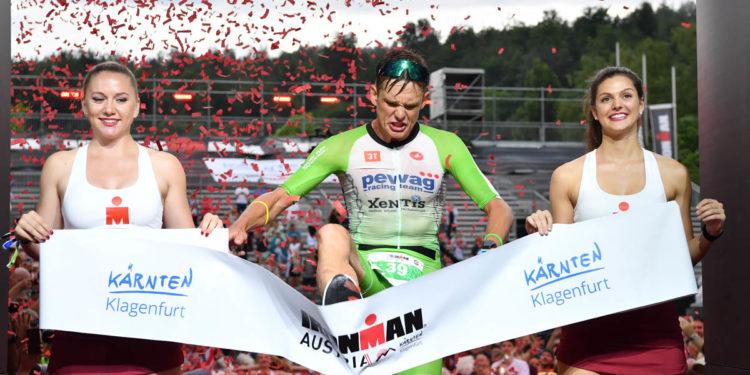 KLAGENFURT, AUSTRIA - JULY 07: Daniel Baekkegard of Denmark wins the Ironman Austria on July 07, 2019 in Klagenfurt, Austria. (Photo by Sebastian Widmann/Getty Images for IRONMAN)