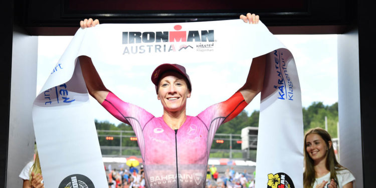 KLAGENFURT, AUSTRIA - JULY 07: Daniela Ryf of Switzerland wins the Ironman Austria on July 07, 2019 in Klagenfurt, Austria. (Photo by Sebastian Widmann/Getty Images for IRONMAN)