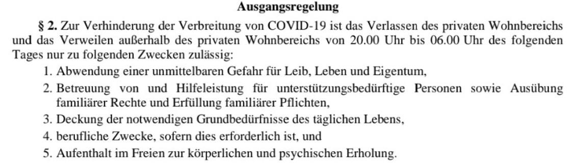 COVID-19 Ausgangsregelung