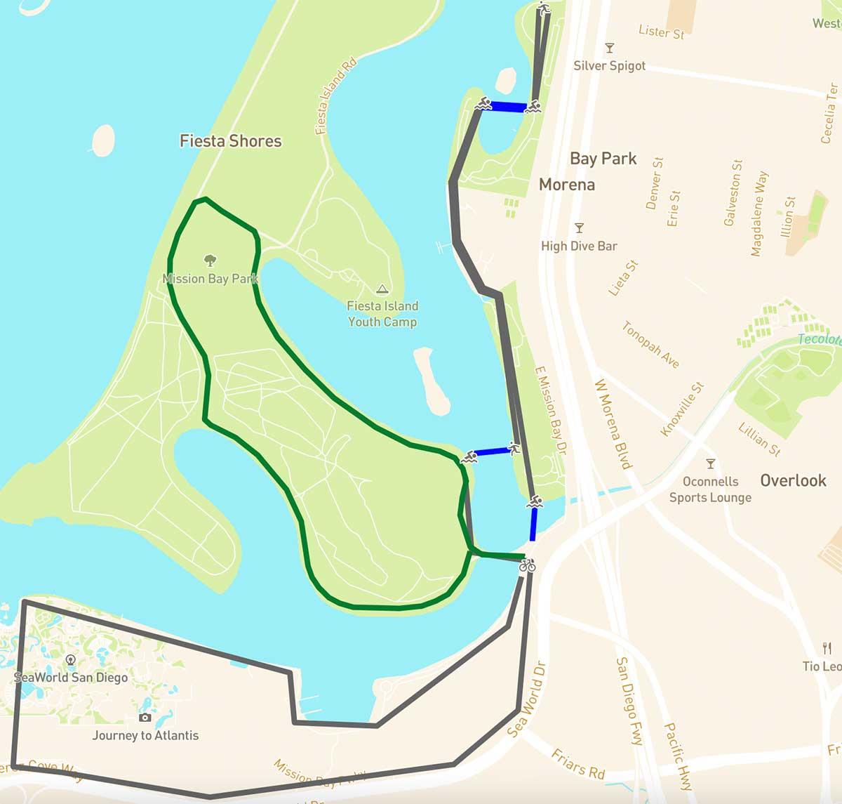 Streckenführung des ersten Triathlons